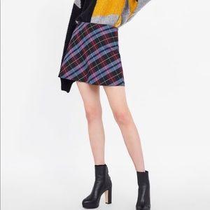 NWT Zara Plaid Mini Skirt Size Small